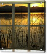 Golden Lake Bay Picture Window View Acrylic Print