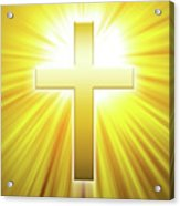 Golden Latin Cross With Sunbeams Acrylic Print