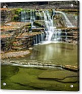 Golden Leaves And Mossy Tiers Of Enfield Glen Waterfall Acrylic Print