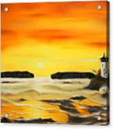 Golden Lighthouse Sunset Dreamy Mirage Acrylic Print