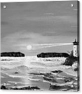 Golden Lighthouse Sunset In Black And White Acrylic Print