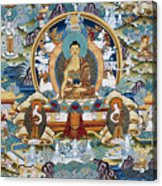 Golden Medicine Buddha Thangka Acrylic Print