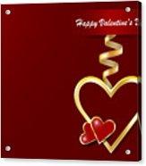 Golden Metal Frame Heart Acrylic Print