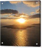 Golden Santorini Sunset Acrylic Print