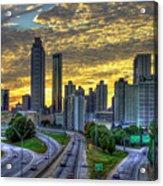Golden Skies Atlanta Downtown Sunset Cityscape Art Acrylic Print