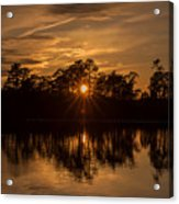 Golden Sunburst At The Lake New Jersey  Acrylic Print