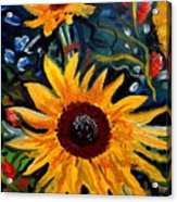 Golden Sunflower Burst Acrylic Print