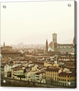 Golden Sunset Of Florence, Italy. Acrylic Print