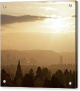 Golden Sunset Over Portland Skyline Acrylic Print