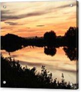 Golden Sunset Reflection Acrylic Print