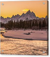 Golden Teton Sunset Acrylic Print