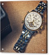 Golden Watch And Black Box Acrylic Print