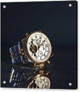 Golden Watch On Dark Background Acrylic Print