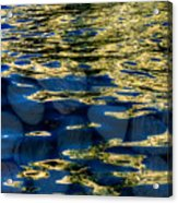 Golden Water With Rocks Acrylic Print