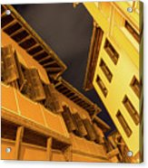 Golden Yellow Night - Chic Zigzags Of Oriel Windows And Serrated Roof Lines Acrylic Print