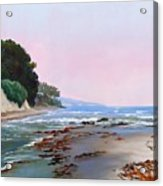 Goleta Beach Rushing Tide Acrylic Print