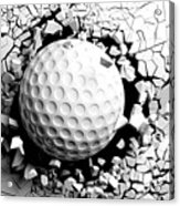 Golf Ball Breaking Forcibly Through A White Wall. 3d Illustration. Acrylic Print