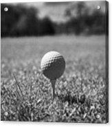 Golf Ball On The Tee Acrylic Print by Joe Fox