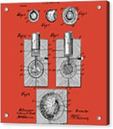 Golf Ball Patent Drawing Red Acrylic Print