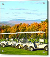 Golf Carts On Vermont Golf Course Acrylic Print