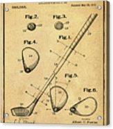 Golf Club Patent 1910 Sepia Acrylic Print