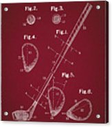 Golf Club Patent Drawing Dark Red Acrylic Print