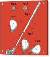 Golf Club Patent Drawing Red Acrylic Print