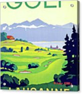 Golf, Lausanne, Switzerland, Travel Poster Acrylic Print