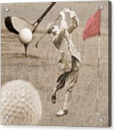 Golf Red Flag Vintage Photo Collage Acrylic Print