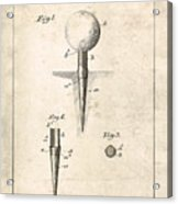 Golf Tee Patent - Patent Drawing For The 1899 G. F. Grant Golf Tee Acrylic Print