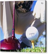 Golfer Sets Up His Shot Acrylic Print