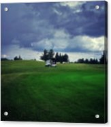 Golfing Before The Rain Golf Cart 01 Acrylic Print