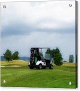 Golfing Before The Rain Golf Cart 02 Acrylic Print