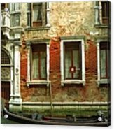 Gondola In Front Of House In Venice Acrylic Print