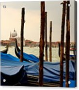 Gondolas And Poles In Venice Acrylic Print