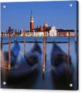 Gondolas And San Giorgio Maggiore At Night - Venice Acrylic Print