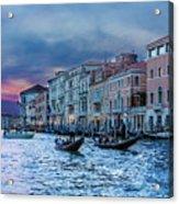 Gondolas At Night Acrylic Print