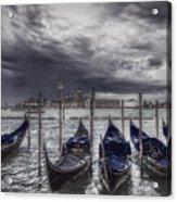 Gondolas In Front Of San Giorgio Island Acrylic Print