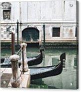 Gondolas On A Canal In Venice, Italy Acrylic Print
