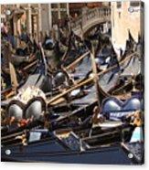 Gondolas Parked In Venice II Acrylic Print