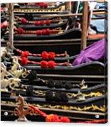 Gondolas Parked In Venice Acrylic Print