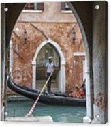Gondolier In Frame Venice Italy Acrylic Print