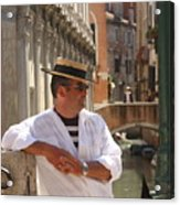 Gondolier In Venice Waiting For A Fare Acrylic Print