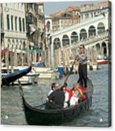 Gonfolas On Venice Canal At Rialto Bridge Acrylic Print