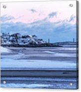Good Harbor Beach And Thacher Island Covered In Snow Gloucester Ma Acrylic Print