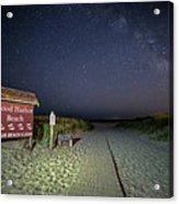Good Harbor Beach Sign Under The Stars And Milky Way Acrylic Print