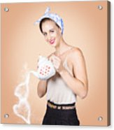 Good Looking Female Pouring Hot Coffee Love Acrylic Print