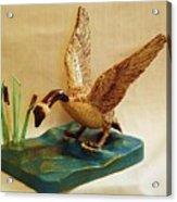 Goose Landing Acrylic Print by Russell Ellingsworth