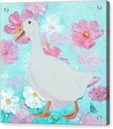 Goose On Floral Background Acrylic Print
