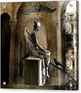 Gothic Surreal Angel With Gargoyles And Ravens  Acrylic Print
